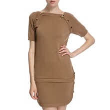 Camel Wool Dropped Waist Dress