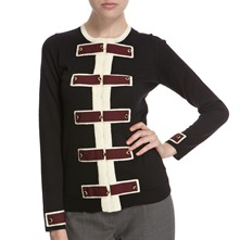 Black/Cream Trim Wool Cardigan