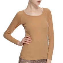 Camel Scoop Neck Cotton Blend Top