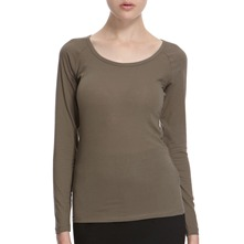 Khaki Scoop Neck Cotton Blend Top