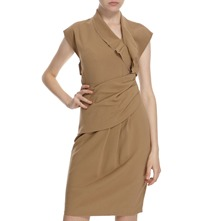 Camel Open Back Panel Dress