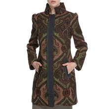 Green Paisley Patterned Tapestry Coat