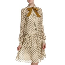 Beige Patterned Silk Tie Neck Dress
