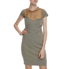 Khaki/Copper Wool/Silk Panelled Dress