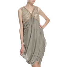 Pale Khaki Silk Blend Embroidered Dress