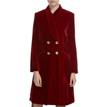 Deep Red Silk Blend Velvet Coat