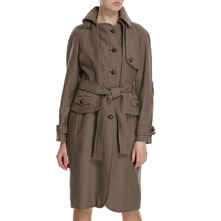 Taupe Wool Round Collar Belted Coat