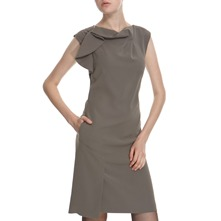 Khaki Drape Front Dress