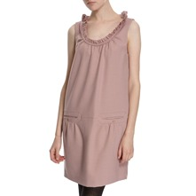 Dusty Pink Wool Blend Ruffle Neck Dressss