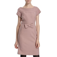 Dusty Pink Wool Blend Bow Front Dress