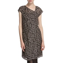Brown Asymmetrical Neck Dress