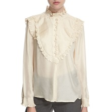 Ivory Silk Ruffled Blouse