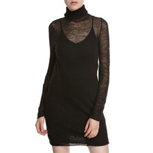 Black Wool/Alpaca Polo Neck Jumper Dress