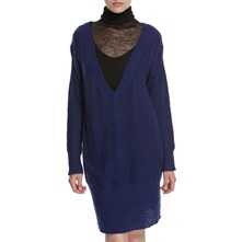 Indigo Oversized V-Neck Jumper