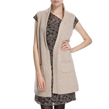 Oatmeal Wool Sleeveless Cardigan