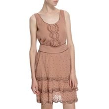 Nude Cotton Tiered Beaded Dress