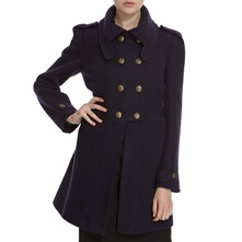 Navy Wool Blend Military Coat
