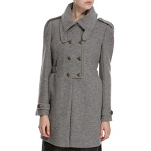 Grey Wool Blend Military Coat