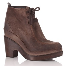 Brown Distressed Suede Ankle Boots 8cm Heel