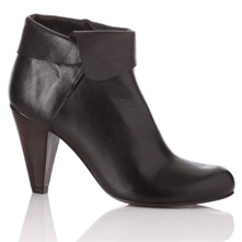 Black Leather Cuff Ankle Boots 9cm Heel