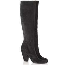 Black Suede/Ponyskin Panel Long Boots 10cm Heel