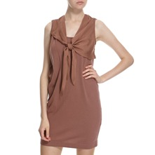 Rust Cotton/Silk Tie Front Dress