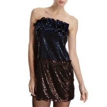 Blue/Bronze Sequin Bandeau Dress