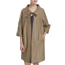 Khaki Leather Cocoon Coat