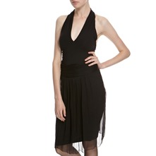 Black Layered Halter Dress