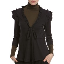 Black Ruffle Shoulder Tie Cardigan