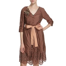 Rust Laser Cut Belted Dress Coat