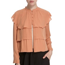 Peach Silk Ruffle Jacket
