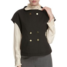 Black Short Sleeve Gold Button Jacket