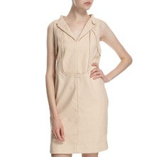 Nude Cotton Panelled Dress