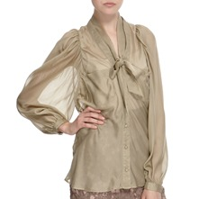 Stone Neck Tie Silk Blouse
