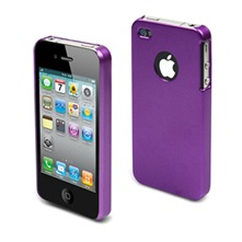 Coque gomme mtal iPhone4/4S + Protection cran