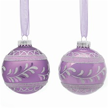 Set of Nine Purple Matt/Pearl Decorated Glass Baubles
