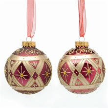 Set of Nine Fuchsia Decorated Glass Baubles