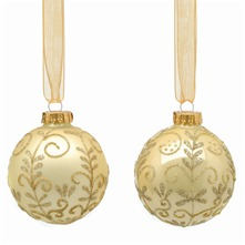 Set of Nine Gold Decorated Glass Baubles