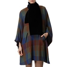 Blue Oversized Check Wool Cape