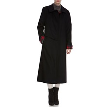 Black Tartan Trim Long Wool Coat