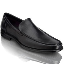 Men footwear: Black Fairwood Venetian Leather Loafers