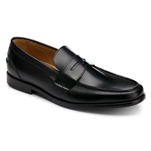 Men footwear: Black Leather PD Penny Loafers