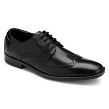 Men footwear: Black Leather OR Stitched Wingtip Shoes