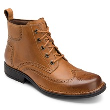 Tan Leather Perforated Toe Boots