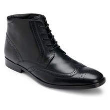 Men footwear: Black Leather Wingtip Boots