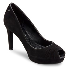 Black Leather Janea Peep Toe Shoes 10cm Heel