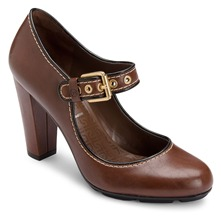Brown Leather Jalicia Mary Janes Shoes 8cm Heel