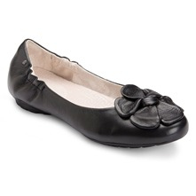 Black Etty Leather Flower Pumps