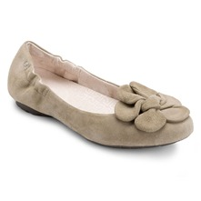 Beige Leather Etty Flower Pumps